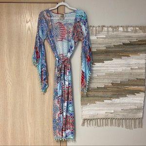 Jaase Multicolor Printed Long Kimono pom Pom